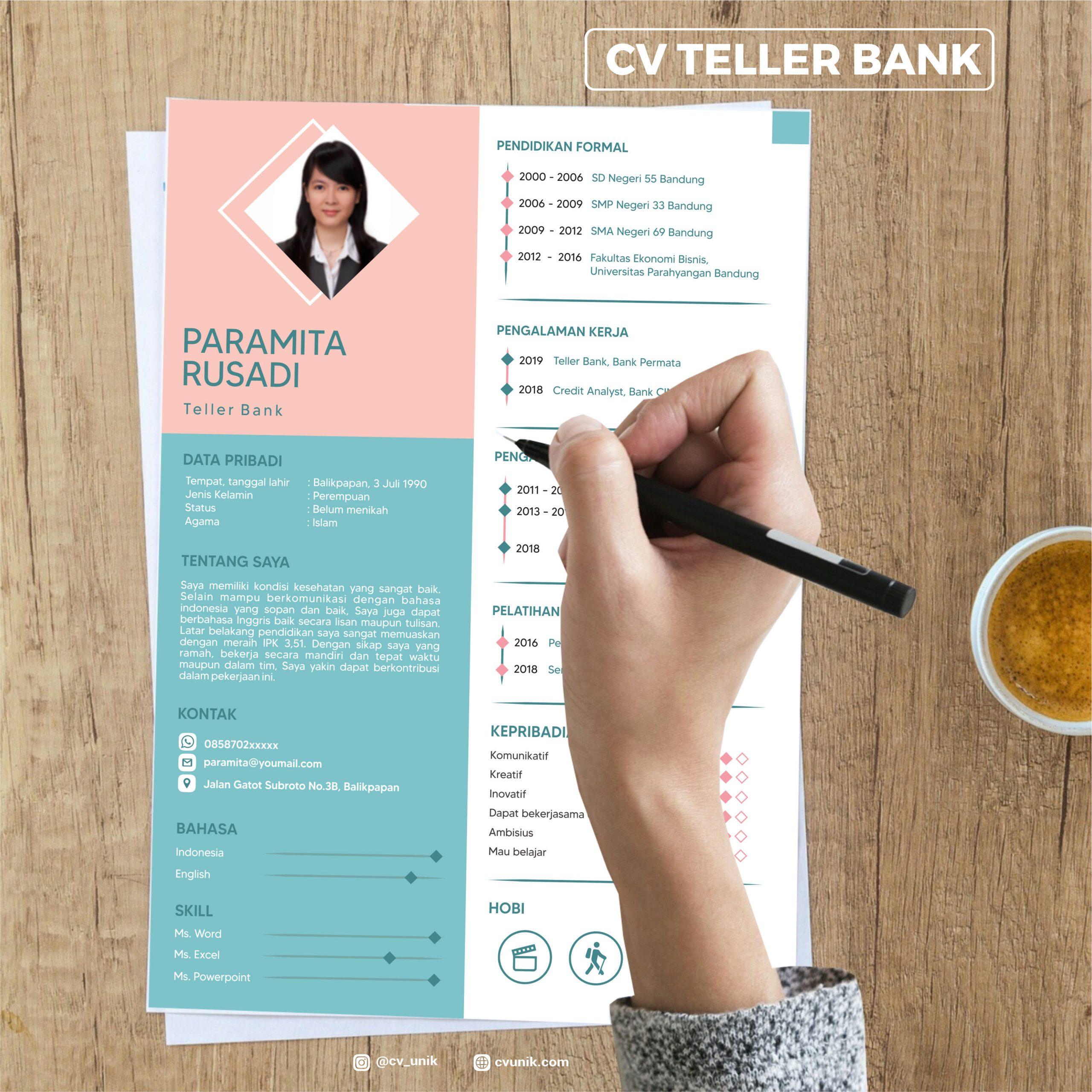 Resume Teller Bank